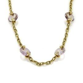 Judith Ripka 18K Yellow Gold Diamond & Amethyst Textured Fancy Necklace