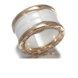 Bulgari B.Zero1 Ceramic 18k Rose Gold Four Band Ring Size 5.5