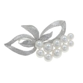 Mikimoto 18k White Gold Pearl Pin Brooch