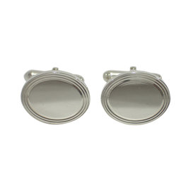 Tiffany & Co. 925 Sterling Silver Engine-Turned Oval Cufflinks