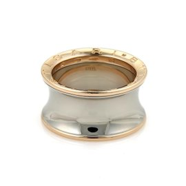 Bulgari Stainless Steel 18K Rose Gold B-Zero 1 Wide Concave Band Ring Size 9.25