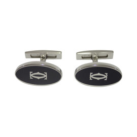 Cartier 925 Sterling Silver Black Lacquer Double C Decor Cufflinks