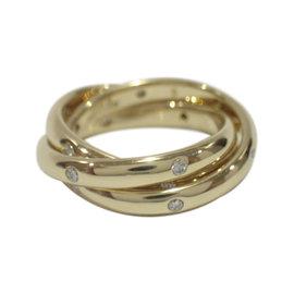 Cartier 18K Yellow Gold Trinity Diamonds Ring Size 5