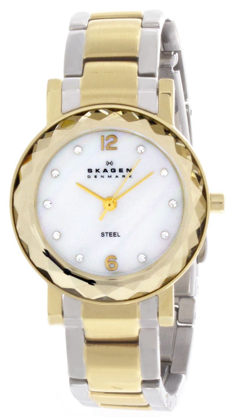 "Image of ""Skagen 457Sgsx Mother of Pearl Dial Two Tone Gold Tone & Stainless"""