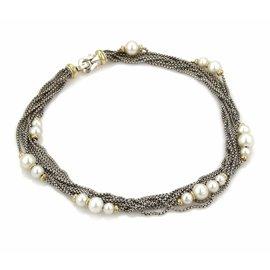 David Yurman 18K Yellow Gold & 925 Sterling Silver Pearls Multi-Strand Box Link Chain Necklace