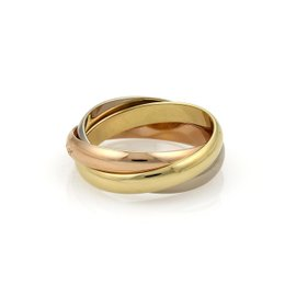 Cartier 18K Yellow White & Rose Gold Trinity Bands Ring Size 7.5