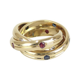 Cartier 18K Yellow Gold with Diamond & Sapphire Trinity Ring Size 5.25