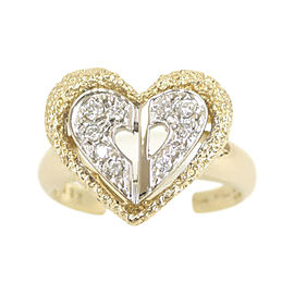 Christian Dior 18K Yellow & White Gold with Diamond Heart Ring Size 5.75