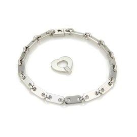 Cartier 18K White Gold Fedility Bar Link Heart Key Fancy Bracelet Size 7.25