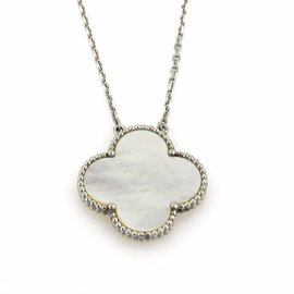 Van Cleef & Arpels 18K White Gold Alhambra Large Pendant Necklace