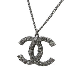 Chanel Coco Mark Silver Tone Metal & Brass with Rhinestone Necklace