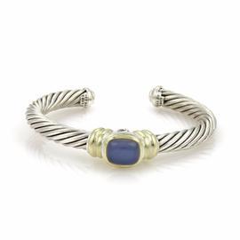 David Yurman 925 Sterling Silver & 14K Yellow Gold Chalcedony Cable Cuff Bracelet