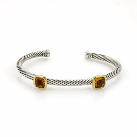 David Yurman 925 Sterling Silver & 18K Yellow Gold Citrine Cable Wire Bangle