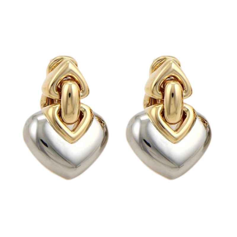 "Image of ""Bulgari 18K Yellow Gold & Stainless Steel Double Hearts Post Clip Drop"""