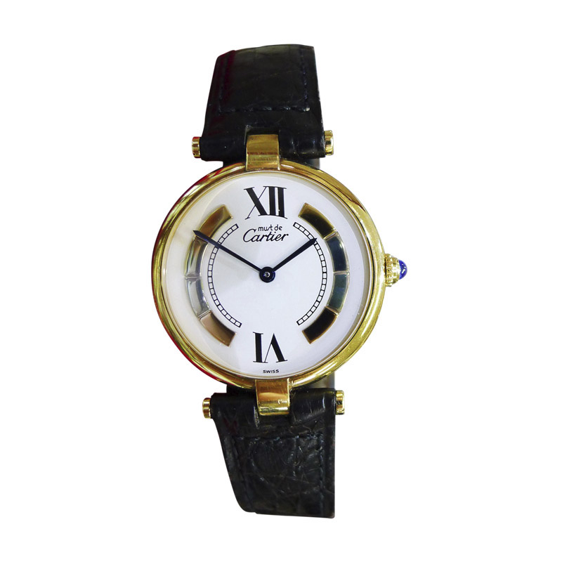 """""Cartier Must De Vermeil Gold Plated Sterling Silver Roman Numeral Dial"""""" 1607164"