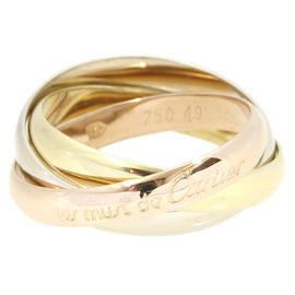 Cartier 750 White Yellow Rose Gold Trinity Ring Size 7.5