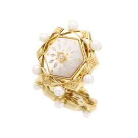 Mikimoto 18k Yellow White Gold Pique Pearl Diamond Mother of Pearl Pin Brooch