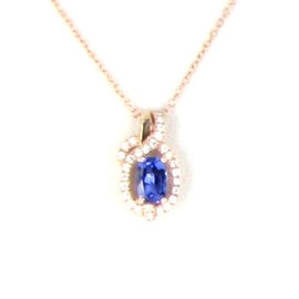 Le Vian Chocolatier 14K Rose Gold with 0.11ct Diamonds with Blueberry Tanzanite Necklace
