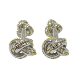 Tiffany & Co. 925 Sterling Silver 18K Yellow Gold Knot Cufflinks