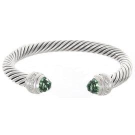 David Yurman 925 Sterling Silver Diamonds & Green Crystals Cable Bangle