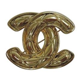Chanel Coco Mark Gold Tone Pin Brooch