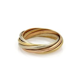 Cartier 18K Yellow, White & Rose Gold Trinity Band Ring Size 7.5