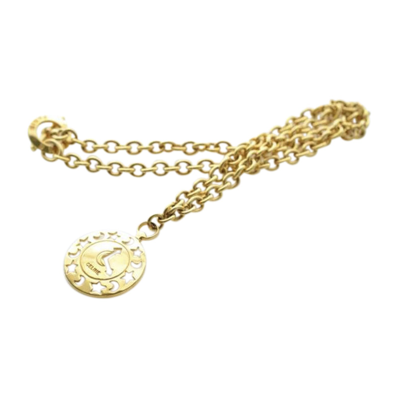 "Image of ""Celine Gold Tone Hardware Pendant Necklace"""