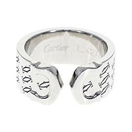 Cartier 750 White Gold Monogram Ring Size 4.5