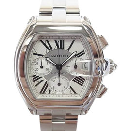 Cartier Roadster Chronograph W62019X6 Stainless Steel White Dial Auto 42mm Mens Watch