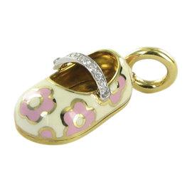 Aaron Basha 18K Yellow Gold Baby Shoe 0.07cts Diamond Strap Pendant