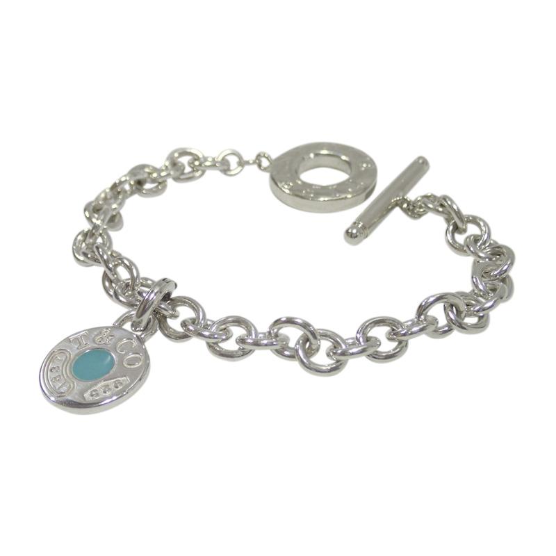 "Image of ""Tiffany & Co. 925 Sterling Silver Blue Enamel Charm Bracelet"""