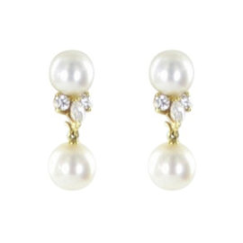 Mikimoto 18K Yellow Gold with Akoya Pearl and 0.38ct Diamond Earrings