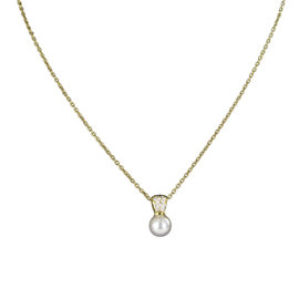 Mikimoto Classic Elegance 18K Yellow Gold with Akoya Pearl & 0.37ct Diamond Necklace
