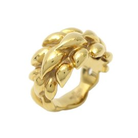 Chanel Reef Motif 750 Yellow Gold Ring Size 5.25