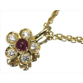 Christian Dior 750 Yellow Gold with Ruby and Diamond Flower Motif Necklace