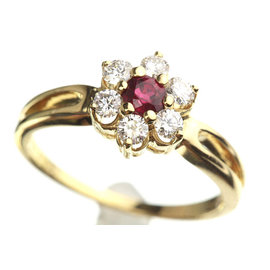 Mikimoto 750 Yellow Gold with 0.14ct Ruby and 0.24 ct Diamond Ring Size 4