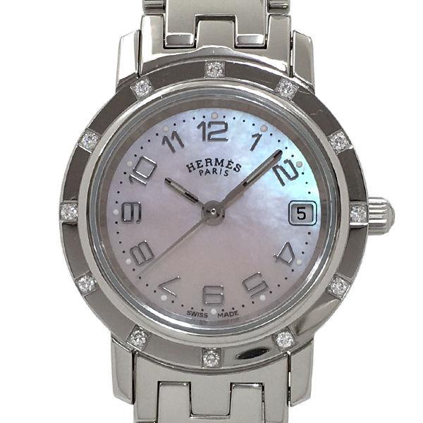 """Image of """"Hermes Clipper Nacre Cl4.230 Stainless Steel Diamond Bezel Quartz 24mm"""""""