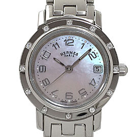 Hermes Clipper Nacre CL4.230 Stainless Steel Diamond Bezel Quartz 24mm Womens Watch