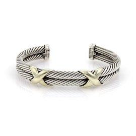 David Yurman 925 Sterling Silver & 14K Yellow Gold X Design Double Cable Cuff Bracelet