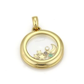 Chopard Happy Diamond 18K Yellow Gold Emerald and Ruby Floating Moon & Stars Round Pendant