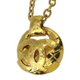 Chanel Gold Tone Coco Mark Pendant Chain Necklace