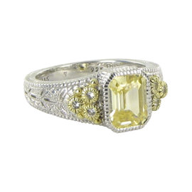 Judith Ripka Estate 18K Yellow Gold & 925 Sterling Silver Crystal & White Sapphire Ring Size 7