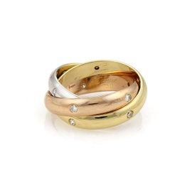 Cartier 18K Yellow White & Rose Gold Trinity Diamond Band Ring Size 5.25