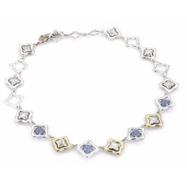 David Yurman 18K Yellow Gold & 925 Sterling Silver Chalcedony Quatrefoil Link Toggle Necklace