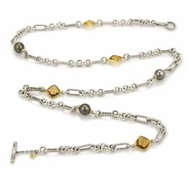 David Yurman 925 Sterling Silver 18K Yellow Gold Citrine & Pearls Toggle Necklace