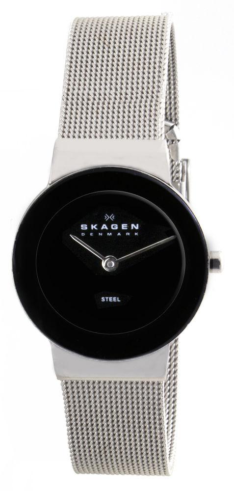 """Image of """"Skagen 358Sssb Stainless Steel Black Dial 26mm Womens Watch"""""""