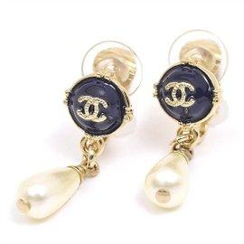 Chanel Gold Tone Metal Coco Mark Swing Faux Pearl Earrings