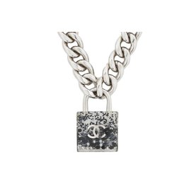 Chanel Coco Mark Padlock Silver Tone Black Pendant Necklace