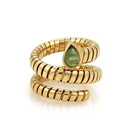 Bulgari Tubogas 18K Yellow Gold 1ct. Tourmaline Wrap Band Ring Size 6.5-7