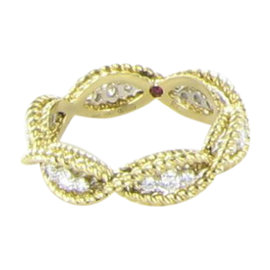 Roberto Coin Barocco 18K Yellow Gold 0.46ct. Diamond Ring Size 6.5